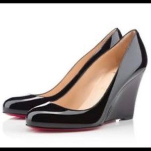Christian Louboutin patent black wedge heels shoes